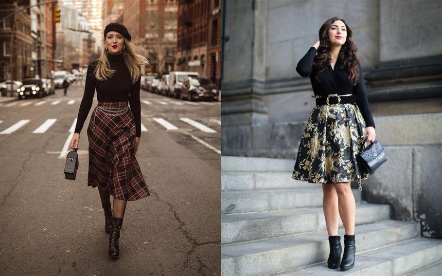 Как носить юбки зимой