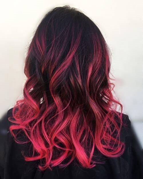 Черно-розовый омбре