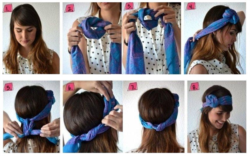 Прическа с шарфом